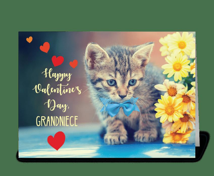 Grandniece Love Valentine Kitten greeting card