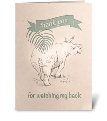 Rhino Thank You Card greeting card