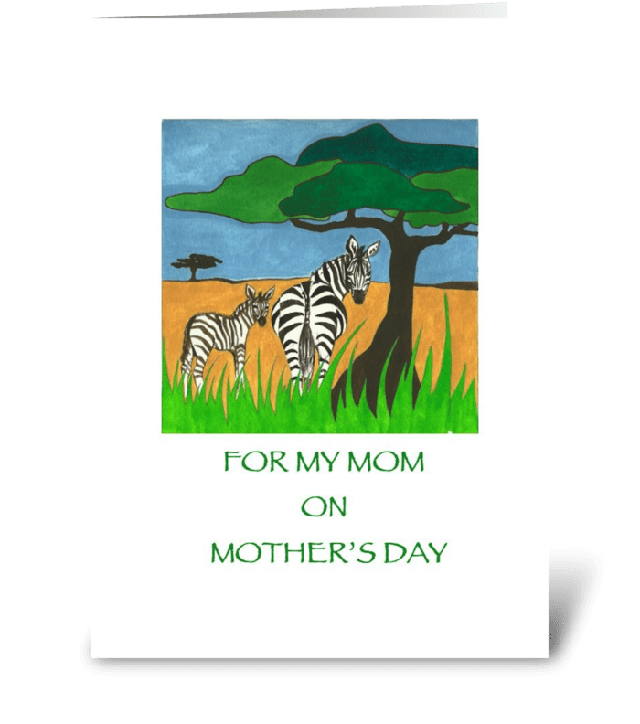 Happy Mother's Day Zebras greeting card