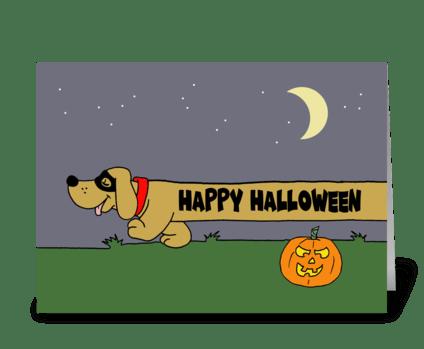 Dachshund Halloween greeting card