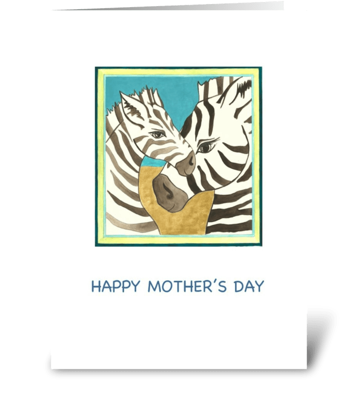 Happy Mother's Day Zebra Portraits greeting card