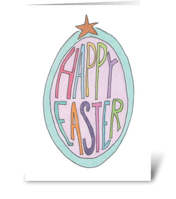 happy easter egg greeting card