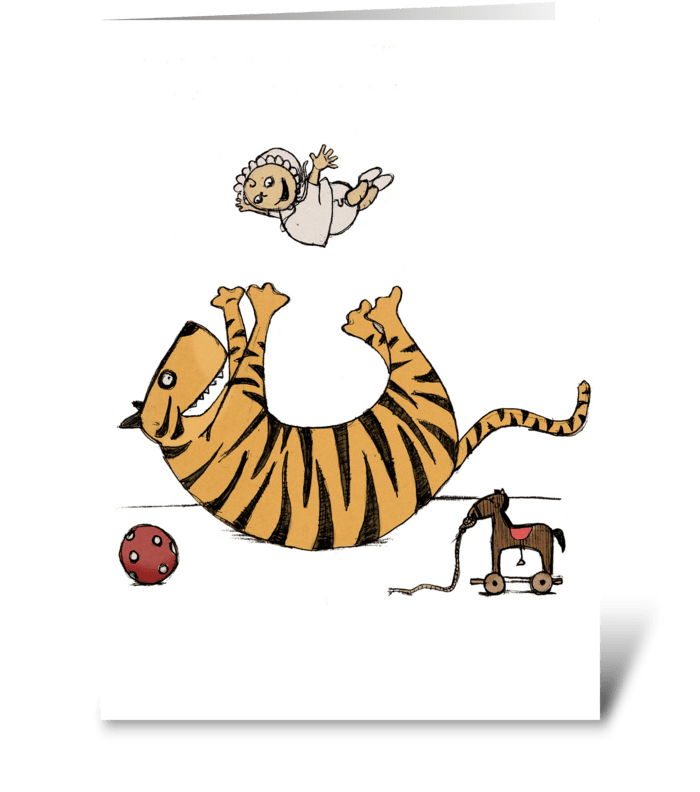 Tiger and Baby greeting card