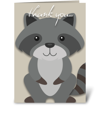 Racoon - Thank You greeting card