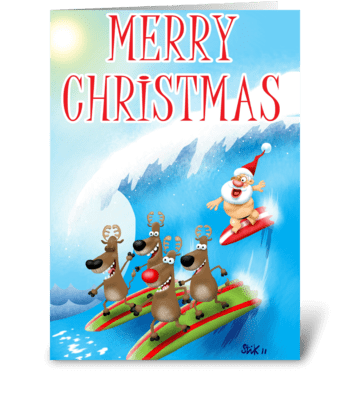 Santa Surfin' greeting card