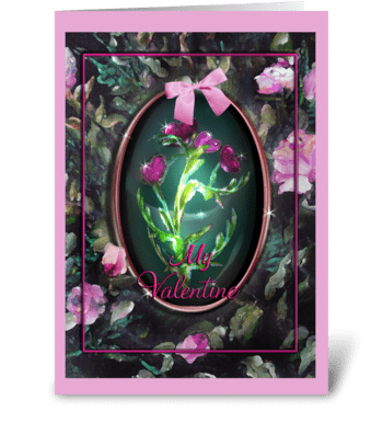 Hearts Under Glass, Valentine greeting card