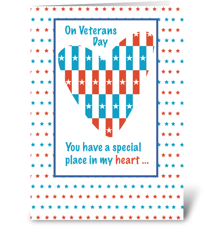 Veterans Day Patriotic Place In Heart greeting card