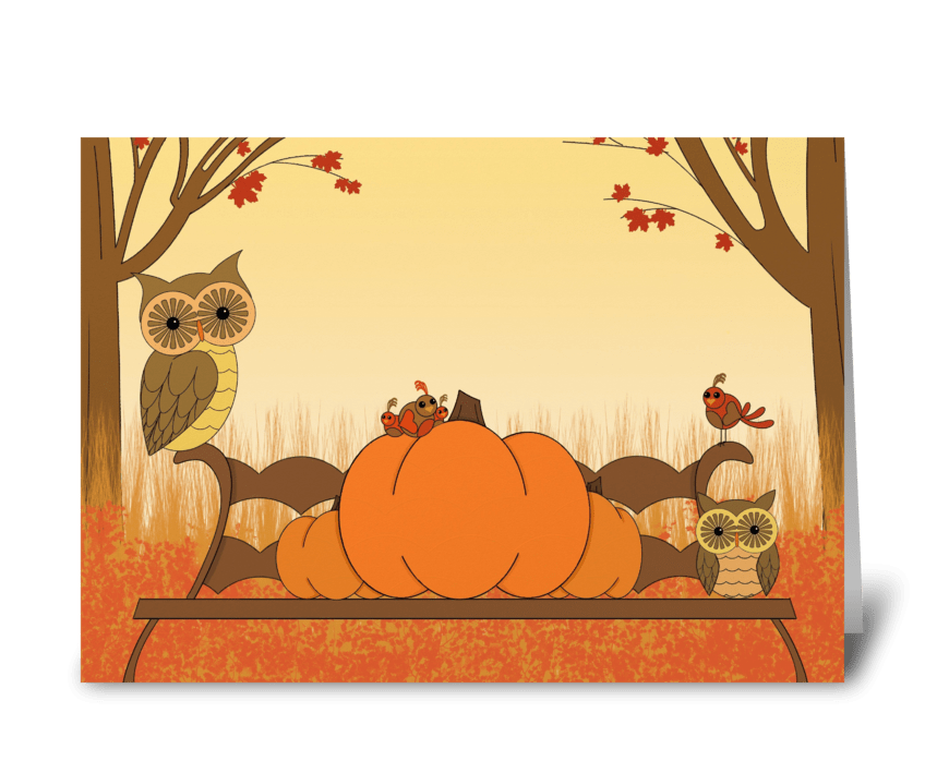 Pumpkin Owls greeting card