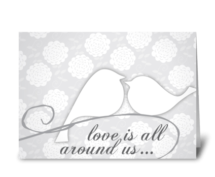 Wedding Grays Birds greeting card