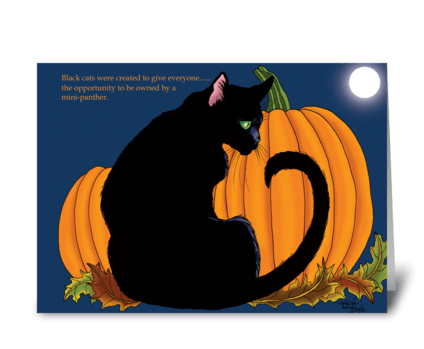 Pumpkin Black Cat greeting card