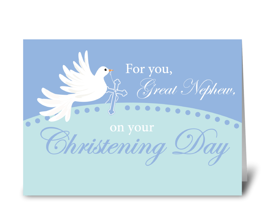 Great Nephew Christening Dove on Blue greeting card