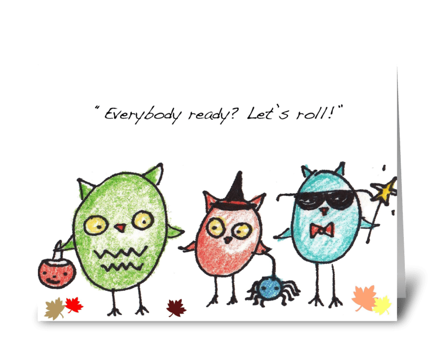Owl Trick-or-Treaters greeting card