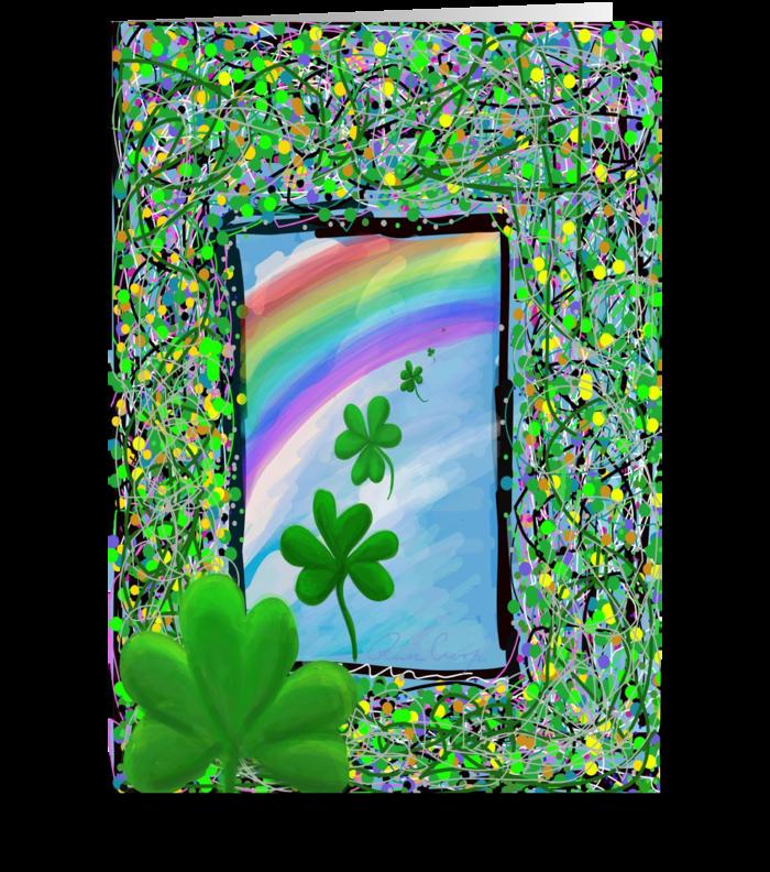 Flying Shamrocks with Rainbow greeting card