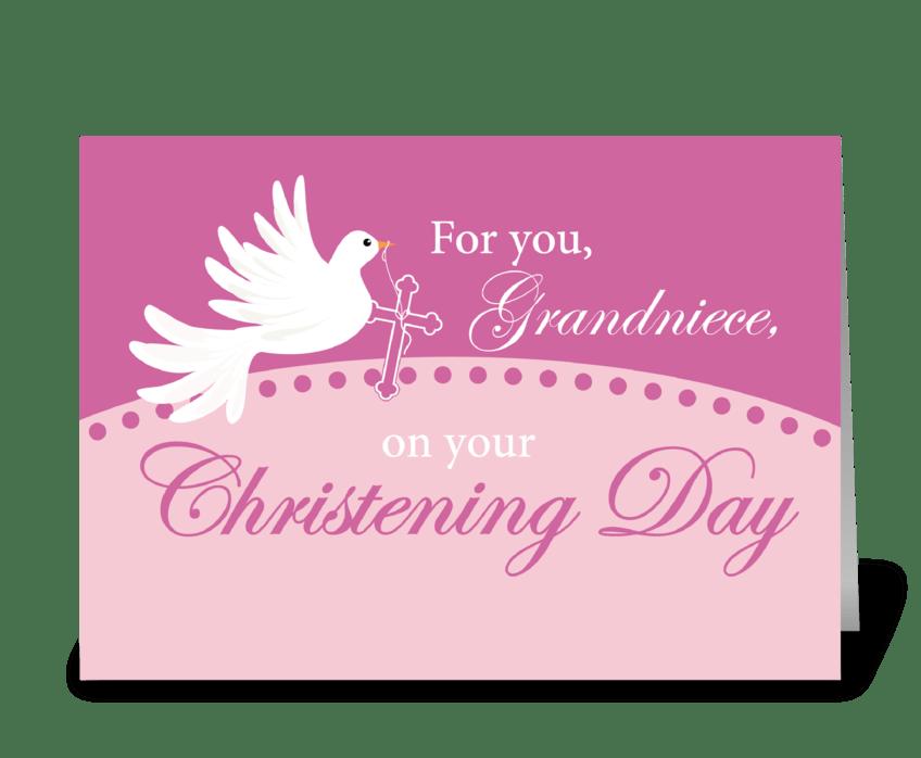 Grandniece Christening Dove on Pink greeting card