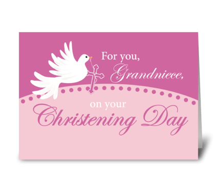 Grandniece Christening Dove on Pink greeting card
