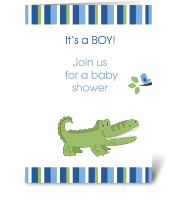 Alligator It's a Boy Baby Shower Card greeting card