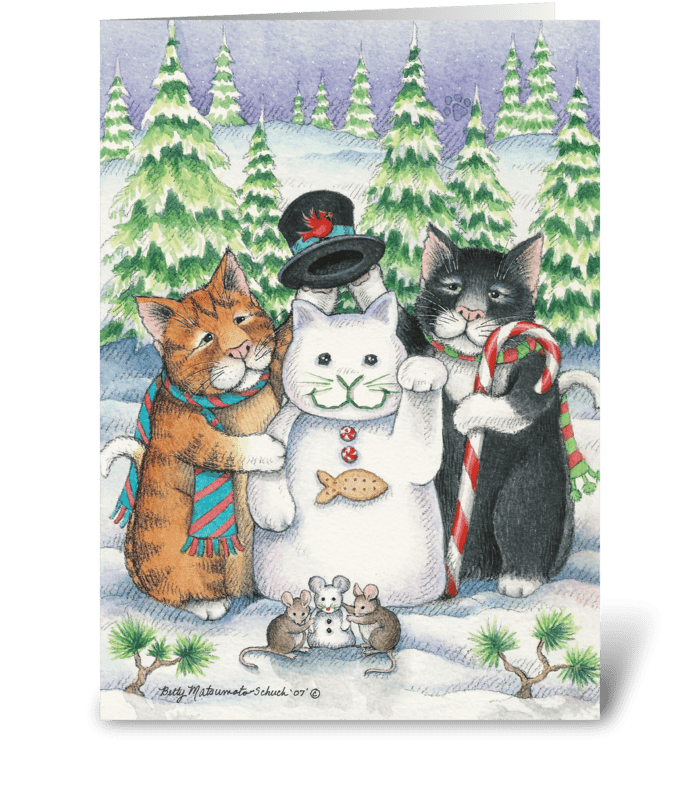 Snow Cat Happy Holidays #24 greeting card