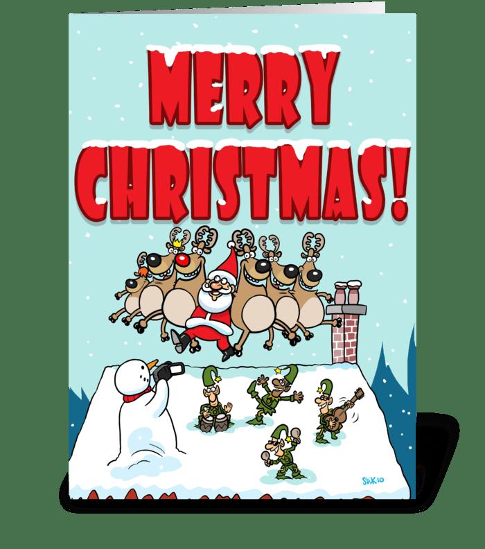 Santa Can Can Christmas greeting card