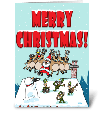 Santa Can Can Christmas greeting card