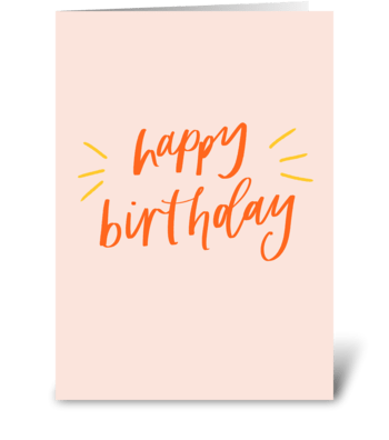 Happy Birthday Hand Lettering greeting card