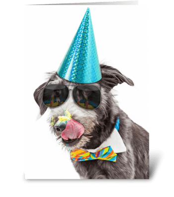 Funny Birthday Dog Celebrating With Cake greeting card