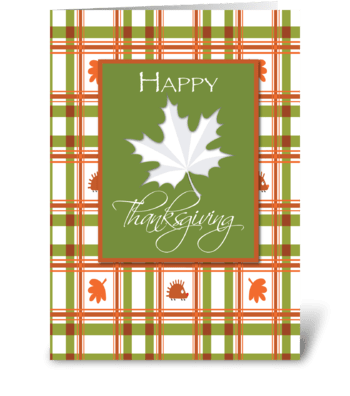 Happy Thanksgiving, Leaf on Plaid greeting card