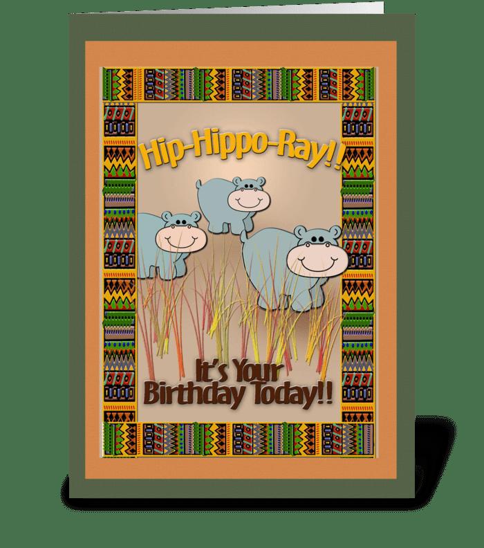 Jungle theme, Hippos, Birthday greeting card