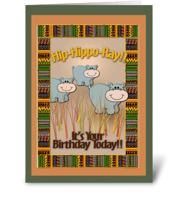 Jungle theme, Hippos, Birthday greeting card