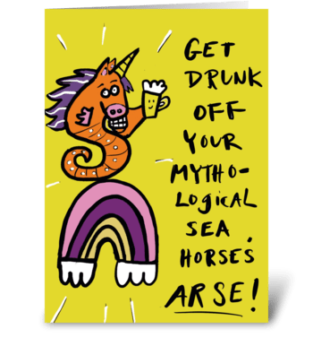 Drunk Mythological Seahorse greeting card