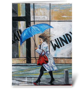 Umbrella and High Heels greeting card
