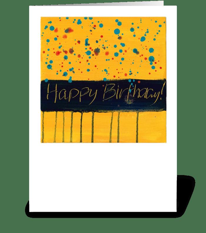 Happy Birthday - Black on Yellow greeting card