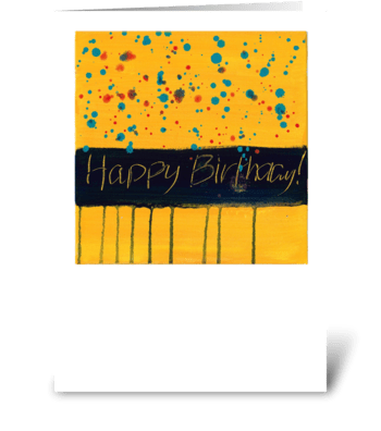 Happy Birthday - Black on Yellow greeting card