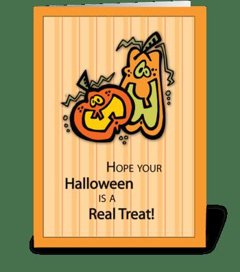 Pumpkins Halloween Treat greeting card