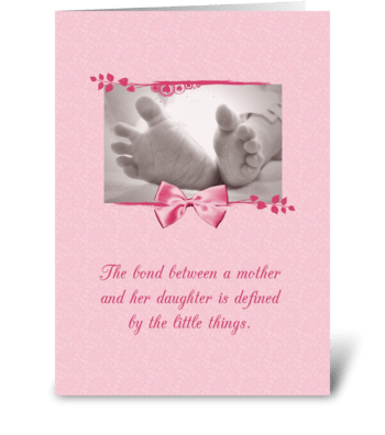Pink Baby Girl Congratulations Baby Feet greeting card