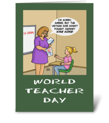World Teacher Day King Kong greeting card