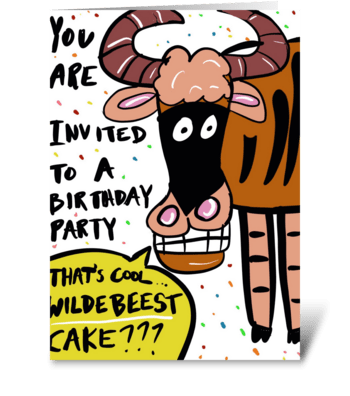 Wildebeest Cake greeting card