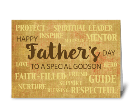 Godson Religious Father's Day Qualities greeting card