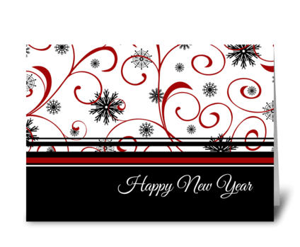 Happy New Year Red Black and White greeting card
