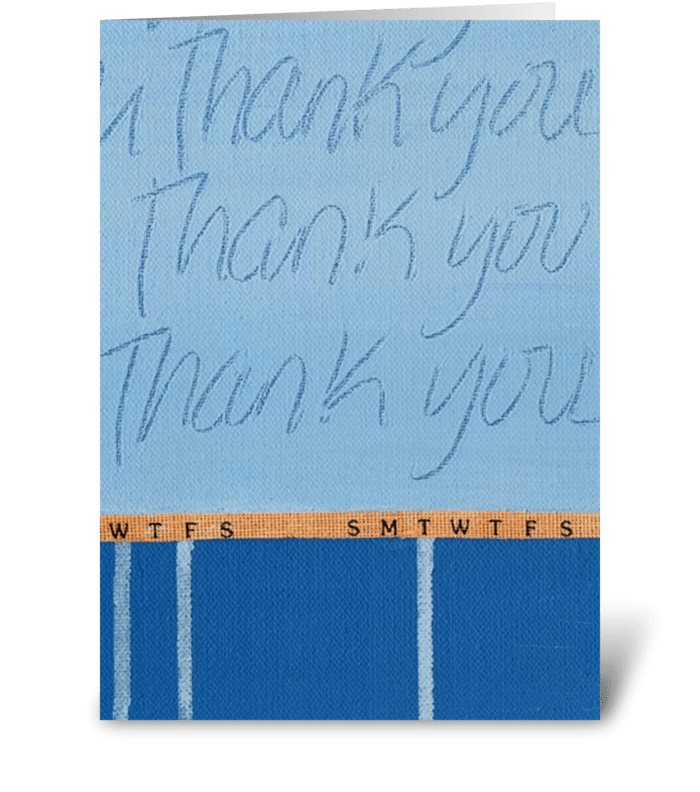 Thank You Painting - Blue on Blue-Ribbon greeting card