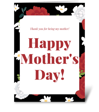 Red Carnation Mother's Day Card  greeting card