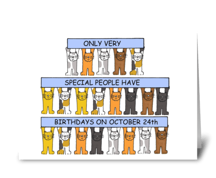 October 24th Birthdays with cats. greeting card