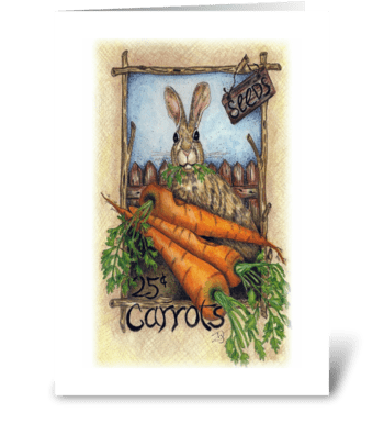 Carrots and Rabbit greeting card