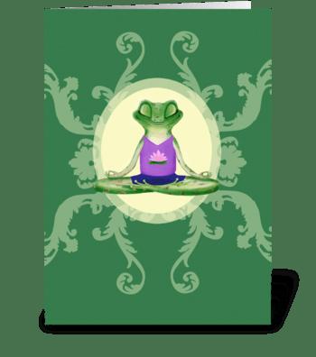 Yogi Frog with Lotus greeting card
