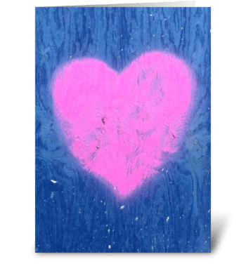 Pink Graffiti Heart on Wall - photograph greeting card