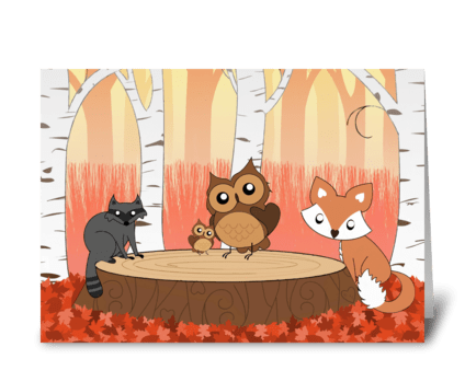 Autumn critters greeting card