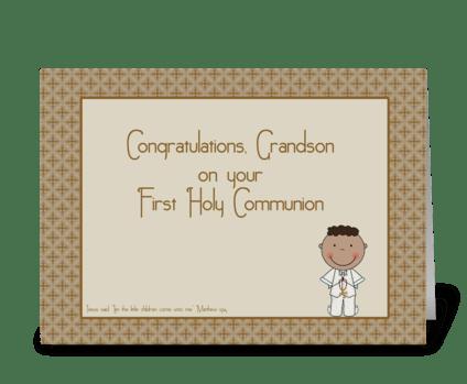 Holy Communion Congrats Grandson greeting card