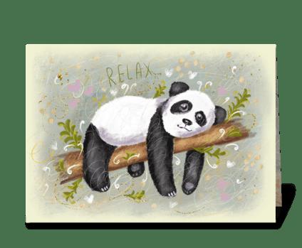 Cute fluffy panda greeting card