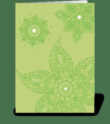 Modern Bazaar 1 Green greeting card