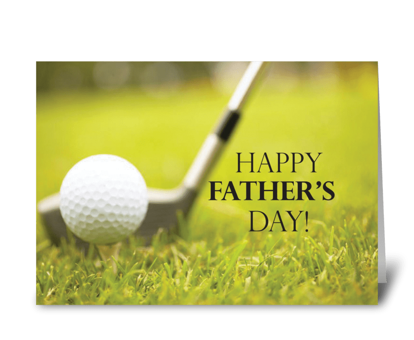 Father's Day Golf Club and Ball greeting card